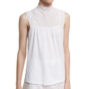 Burberry White Piero Lace Yoke Top XL NWT